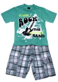Παιδικά ρούχα AZshop.gr - Funky παιδικό σετ μπλούζα-παντελόνι βερμούδα  «Classic Band f58cd1c653a