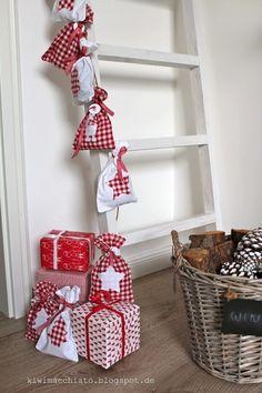 nordic Christmas decoration Adventskalender Säckchen Leiter