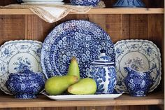 A classic blue-and-white design scheme has timeless appeal. One of the most sought-after patterns is Blue Calico by Burleigh.