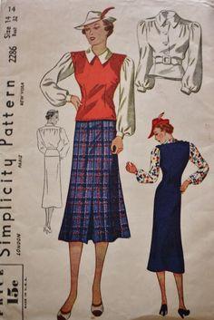 1930s Womens Jerkin Blouse Skirt Simplicity 2286 Vntage Sewing Pattern di BluetreeSewingStudio su Etsy https://www.etsy.com/it/listing/196873042/1930s-womens-jerkin-blouse-skirt