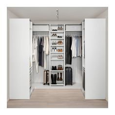 PAX wardrobe – white Hokksund, high gloss black-blue dark blue – IKEA by HadleyLord Master Closet, Closet Bedroom, Walk In Closet, Bedroom Storage, Bathroom Closet, Ikea Pax Corner Wardrobe, Pax Wardrobe, Ikea Pax Closet, Wardrobe Storage