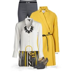 Gray & Yellow 2 by michelled2711 on Polyvore featuring polyvore, fashion, style, NIC+ZOE, L.K.Bennett, Oscar de la Renta, Anya Hindmarch, sweet deluxe and Yves Saint Laurent
