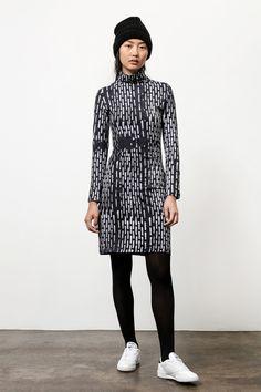 Turtleneck Dress in B&W Broken Lines