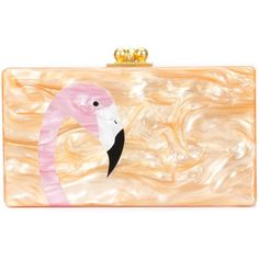 Edie Parker Jean Flamingo Clutch Bag ($1,295) ❤ liked on Polyvore featuring bags, handbags, clutches, mirror purse, beige clutches, edie parker, edie parker handbags and beige purse