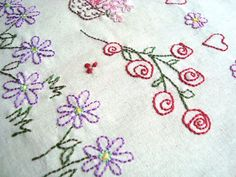 A 12 page pdf file delivered direct to you by email thru Etsy The pattern has full instructions on how to transfer and stitches to use, with more photos and diagrams. Save it to your computer and print the pattern pages when you are ready to stitch.   2 Pages of Flowers designs . Roses,daisys and a cute little butterfly  Ideas: Small Quilt blocks,Cushion front, crazy quilt embellishing, edges of household linens, etc etc. Anywhere you would like to make a pretty and personal statement for…