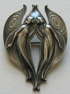 Gorham Art Nouveau Angel Sterling Brooch This lovely Gorham brooch features a male and female angel (or fairy). 1901, and sterling | JV