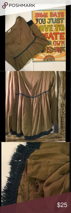 """NEW LISTING Natural Life flowy top with fringe❤️❤️ Natural Life olive semi sheer flowy top with blue fringe trim on bottom. The top is approx 25 """" from shoulder to bottom of fringe. Last pic shows fabric content and care. Top is in very good used condition with no stains or holes NATURAL LIFE Tops"""