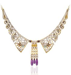 Masriera Necklace. Photo courtesy Cellini Jewelers  18-karat yellow gold bib necklace with round brilliant-cut diamonds, and transluscent, plique-à-jour enamel flowers, with amethyst accents. Diamond weight: approximately 3.28 carats total; Amethyst weight: 7.18 carats total