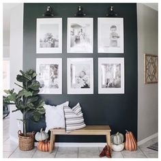 What You Should Do to Find Out About The Best Living Room Wall Decor Everyone Love Before You're Left Behind A range of family photos and lettered sig. Entryway Wall Decor, Room Wall Decor, Gallary Wall, Painted Chairs, Painted Tables, Inspired Homes, Frames On Wall, Interior Design Living Room, Pumpkins