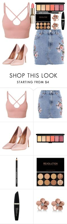 """Rose gold"" by makmoky2 ❤ liked on Polyvore featuring LE3NO, Topshop, NYX, Max Factor, Allurez and rosegold"