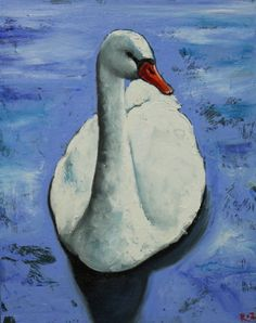 Swan 3 painting 16x20 inch swan original oil painting by by RozArt, $165.00