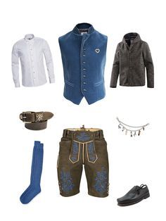 Heimatgefühl pur! Regional produzierte Lederhose und Trachtenweste des jungen Labels Gaudiherz kombiniert mit blauen Akzenten und traditionellen Accessoires.