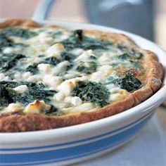 Spinach, Caramelized Onion, and Feta Quiche... Perfect for breakfast, lunch, or dinner!