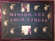 My February RA Board! Add stress tips into the bananas also banana door decs! Ra Themes, Movie Themes, Classroom Themes, Movie Classroom, Minion Door, Ra Door Tags, Door Decks, Ra Bulletins, Ra Boards
