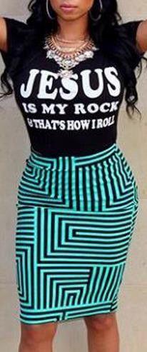 Scoop Short Sleeves T-shirt Bodycon Skirt Flower Print Dress Set