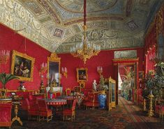 Interiors of the Winter Palace. The Large Drawing-Room of Empress Alexandra Fyodorovna