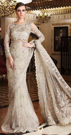 Beige and off white new Eid saree latest Pakistani saree designs 2017