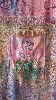 Miss Kitty Curtain cat Door Closet Entryway Antique Linens