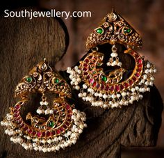 22 Carat gold antique peacock nakshi chandbalis adorned with rubies, emeralds and pearls by JCS Jewel Creations. Silver Jewellery Indian, Indian Jewellery Design, Silver Jewelry, Jewellery Designs, Silver Rings, Jewelry Patterns, Jewelry Design Earrings, Gold Earrings Designs, Gold Designs