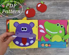 Quiet Book ZOO Animals PDF Pattern, Soft Book for toddlers Felt Pattern, Sewing pattern, Busy book Sensory Book, Baby Sensory, Baby Quiet Book, Quiet Books, Felt Farm Animals Pattern, Dinosaur Party Favors, Montessori Books, Quiet Book Patterns, Newborn Toys