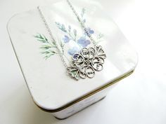 Simple Silver Necklace - Silver Filigree Pendant - Minimalist Layering Necklace on Silver Chain by KatyaValera