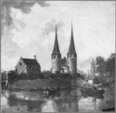 Jan van der Heyden, Gezicht op de Oostpoort van Delft; op de achtergrond de toren van de Nieuwe Kerk