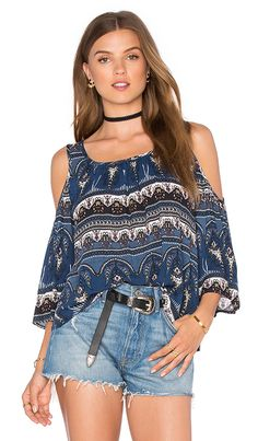 e107aa830fb0a Shop for Bishop + Young Cold Shoulder Peasant Top in Blue Paisley at  REVOLVE. Free