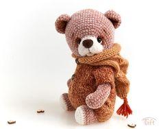 Cute amigurumi teddy bear toy Timi, crochet stuffed plush bear animal with clothes Crochet Animal Patterns, Stuffed Animal Patterns, Crochet Animals, Animal Noses, Bear Animal, Crochet Teddy, Crochet Dolls, Plush Animals, Stuffed Animals