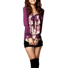Allegra K Women Fake Two Piece Floral Prints Self Tied Front Long Sleeves Casual Purple Shirt XS Allegra K. $12.69