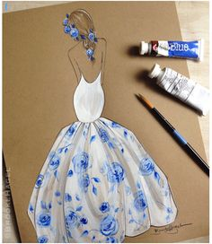 Fabulous Doodles-Fashion Illustration Blog-by Brooke Hagel: Blue & White Fashion Inspiration