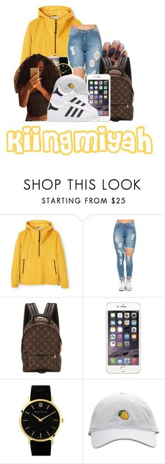 """""""If he ain't got a buck I won't cuff em"""" by kiingmiyah ❤ liked on Polyvore featuring MANGO, Louis Vuitton, Larsson & Jennings and adidas Originals"""