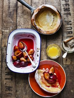 Dutch baby pancakes with roasted plums - Joss Herd Jamie Magazine Plum Recipes, Fruit Recipes, Egg Recipes, Pancake Recipes, Drink Recipes, Bread Recipes, Holiday Recipes, Baby Pancakes, Pancakes And Waffles