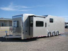 Toy Hauler Trailers, Toy Hauler Camper, Flatbed Trailer, Car Trailer, Camping Trailers, Super C Rv, Cargo Trailer Conversion, Off Road Camping, Aluminum Trailer