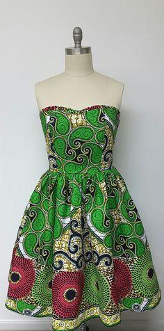African Print Fitted Strapless Dress. Multi by NanayahStudio ~African fashion, Ankara, kitenge, kente, African women dresses, African prints, Braids, Nigerian wedding, Ghanaian fashion, African wedding ~DKK