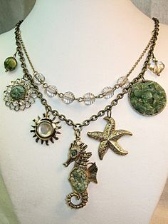 Upcycled Seahorse /Vintage Nautical Themed Pendant Necklace | TimelessDesigns - Jewelry on ArtFire
