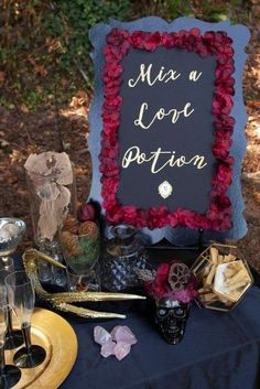 """Create an interactive and fun """"Love Potion"""" favor station for your next Halloween party or wedding! Get details now at fernandmaple.com. Diy Halloween Decorations, Halloween Themes, Halloween Party, Diy Wedding, Rustic Wedding, Drink Stirrers, Romantic Wedding Inspiration, Wedding Table Settings, Pumpkin Decorating"""
