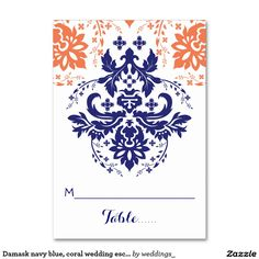 Damask navy blue, coral wedding escort place card table cards