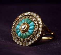Late 1800s Turquoise & Rose Cut Diamond Cluster Ring (in the online shop)