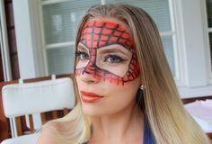 Halloween meikkitutoriaali: spiderman Maske Halloween, Halloween Face Makeup, Blog, Spiderman Face, Black Spiderman, Spiderman Costume, Red Masquerade Masks, Bright Eyeshadow