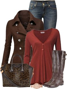 Evoke Style | Fall Colors - So cute. Love the bag. That top might be a tad orange-y for my skin tone, but make it more of a burgundy & I'm in.