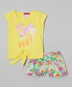 Love this Yellow 'Love' Floral Top & Shorts - Toddler & Girls on #zulily! #zulilyfinds