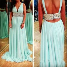 Simple Graceful Sexy Prom Dress V Neck Sequined