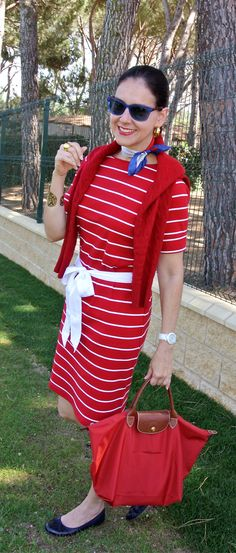 Susana Fernandez | A Key to the Armoire <stripes + red + neckerchief +silk scarf + Longchamp + Le Pliage + Ralph Lauren + preppy style + vacation style + Cole Haan + blue sunglasses>