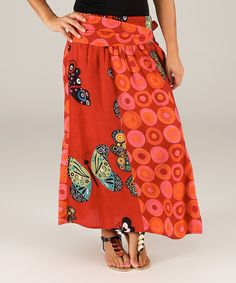 Look at this Aller Simplement Red & Orange Butterfly Side-Tie Maxi Skirt on #zulily today!