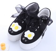 """Fashion students poached egg printed canvas platform shoes CuteKawaiiHarajukuFashionClothing&AccessoriesWebsite.SponsorshipReview&AffiliateProgramopening!this shoes is adorable, and they have more adorable shoes, just visit page, also use this coupon code """"cute8"""" to get all 10% off shop now for lowest price"""