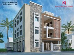 Exteriors and architectural colonial style houses by m.a constructions colonial 3 Storey House Design, Duplex House Design, House Front Design, Small House Design, Modern House Design, Modern Houses, Modern Exterior House Designs, Front Elevation Designs, House Elevation