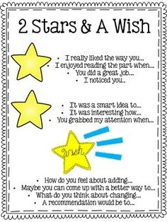 "This can be used during writing time. Students tell the author two things they liked about their writing (2 stars), and then one thing they ""wish"" they would add or improve on."