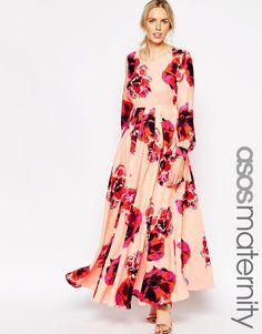 Image 1 ofASOS Maternity Maxi Kaftan Dress With Keyhole In Floral Print