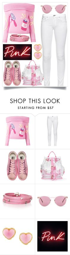 """Pink Winter Outfit"" by tlb0318 ❤ liked on Polyvore featuring Jeremy Scott, rag & bone, Golden Goose, Sif Jakobs Jewellery, Oliver Peoples and Chanel"