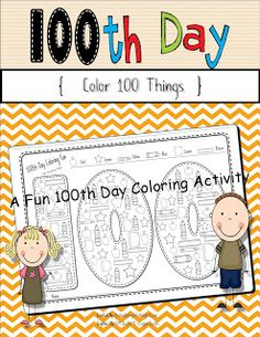 The Kinder Project: 100th Day Activities- Color 100 Things!  On TPT